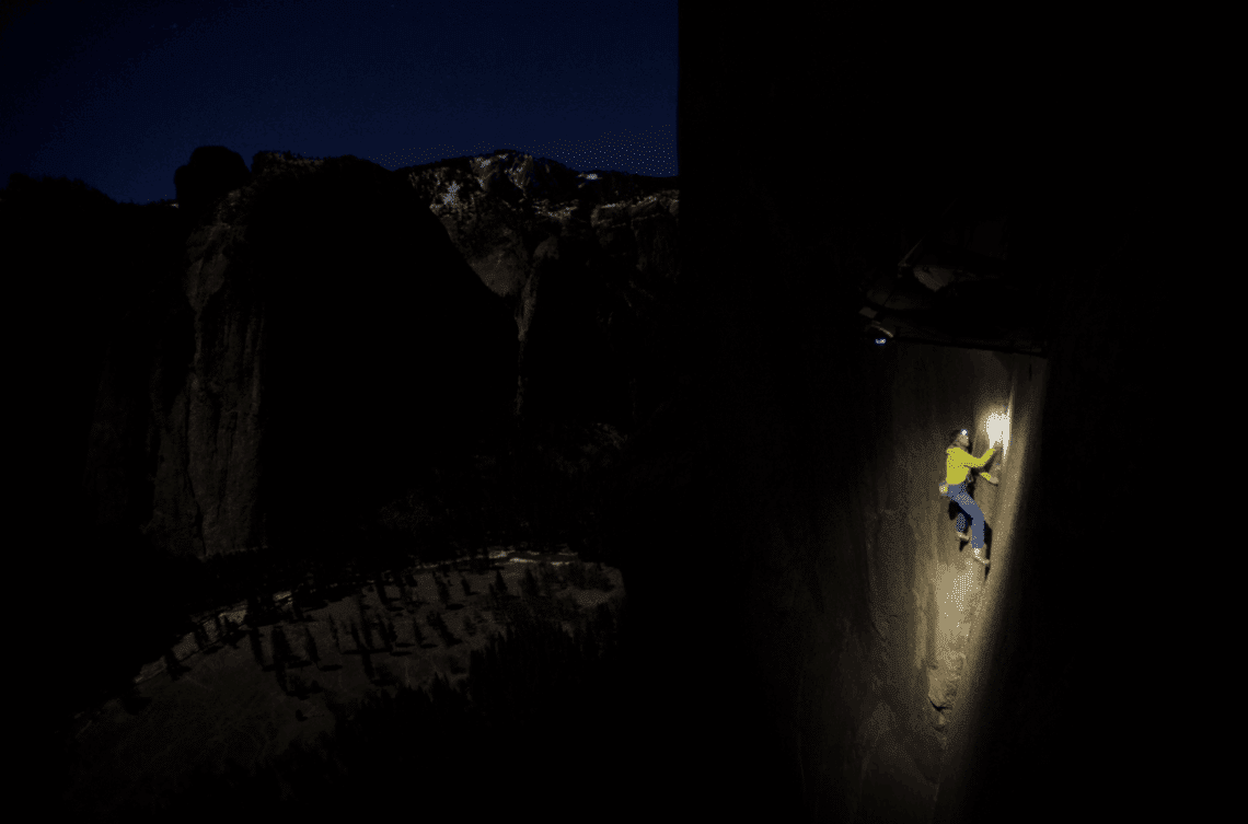 Tommy down climbing pitch 16 in the dark three nights ago to circumnavigate the Dyno. Almost 200 feet of climbing to skip one move! Photo: Corey Rich