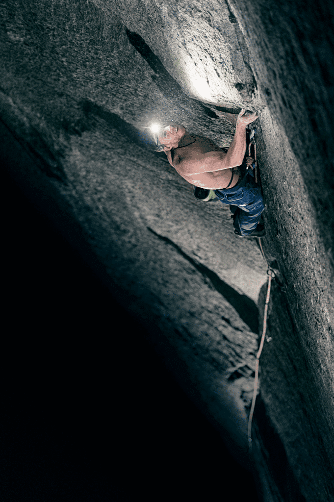 Tommy Caldwell sent the last 5.14 pitch of the Dawn Wall, pitch 17, last night. Photo Corey Rich