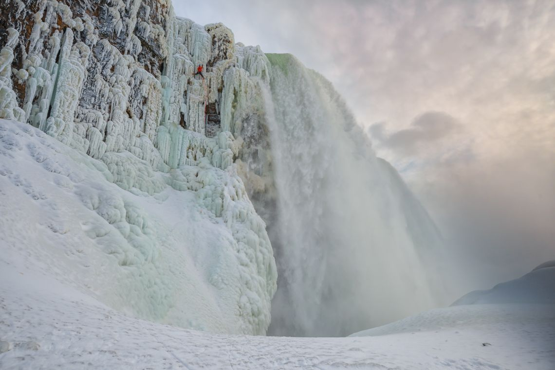 Will Gadd climbing the frozen Niagra Falls first ascent