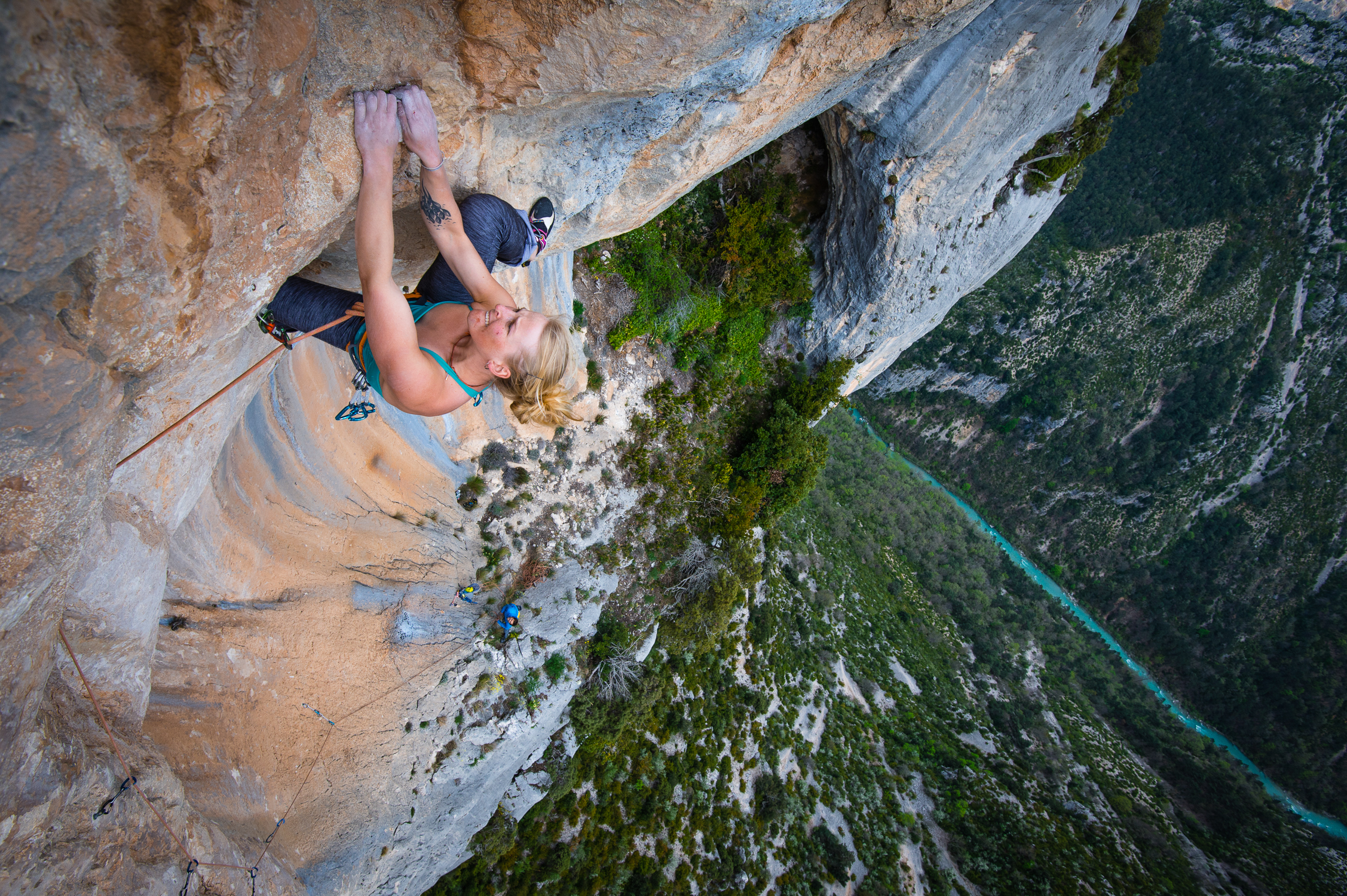Emily Harrington climbing in the Verdon Gorge. Photo: Keith Ladzinski