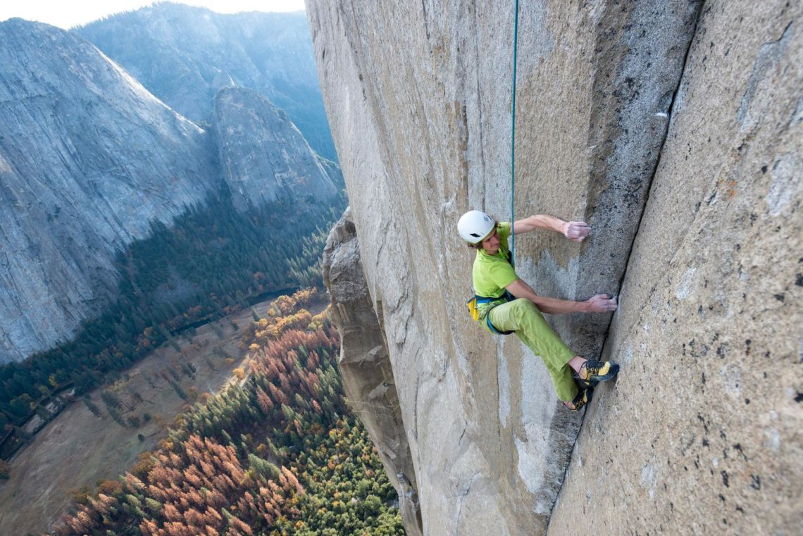 Adam Ondra top-roping on the Dawn Wall. Photo: Pavel Blazek