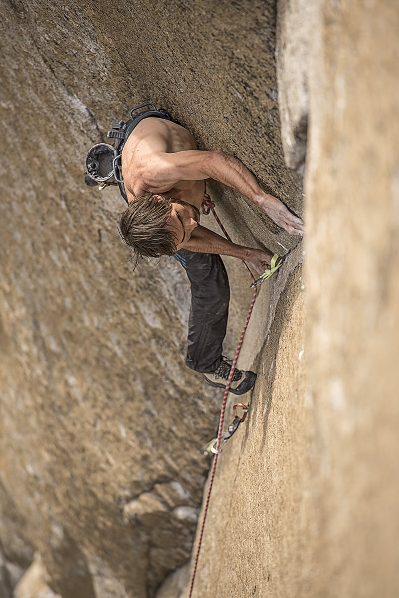 Fixed pins and ancient bolts. Kevin Jorgeson on the Dawn Wall. Photo:  Corey Rich