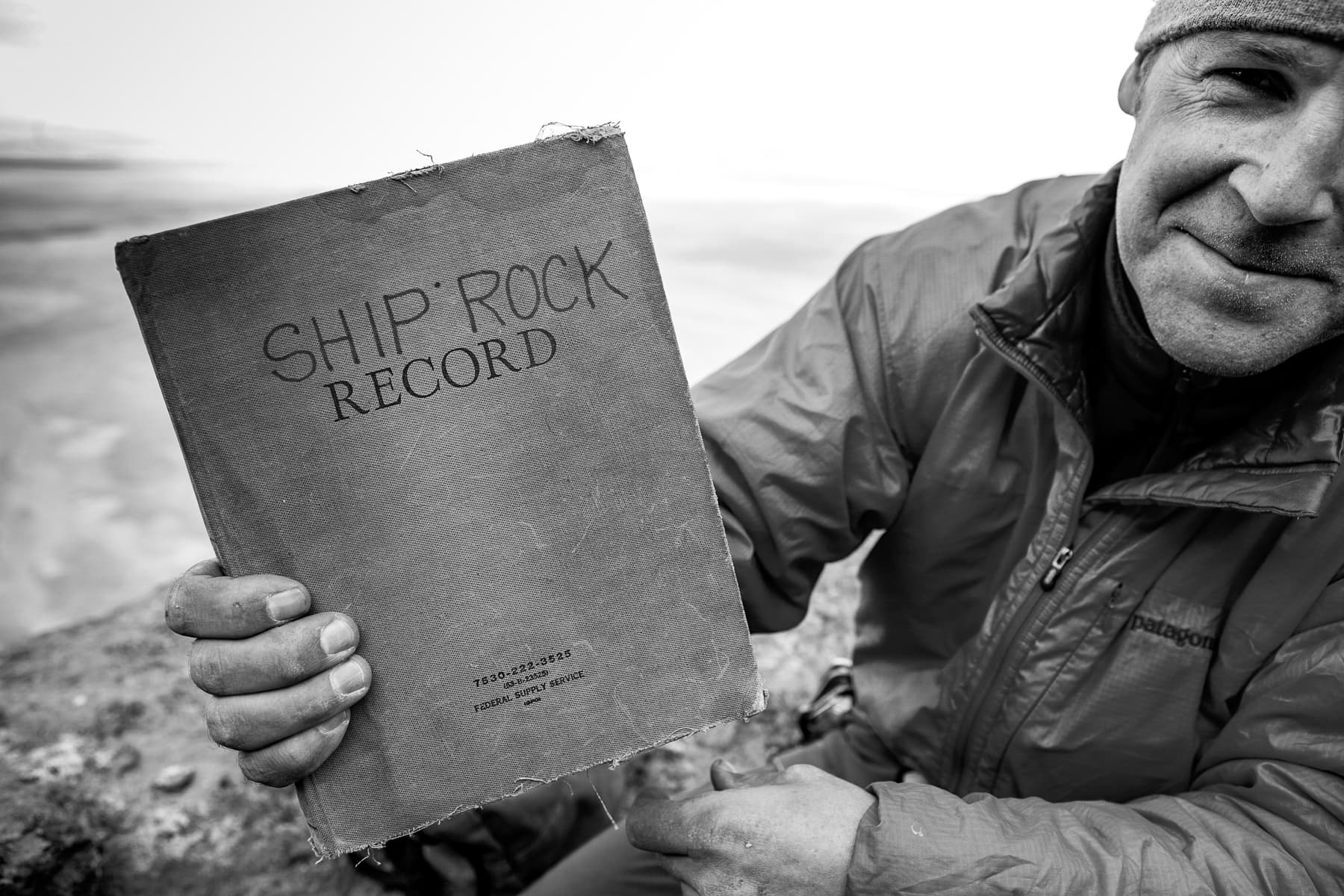 Jonathan Thesenga on the cumbre of Shiprock. Photo: Andrew Burr