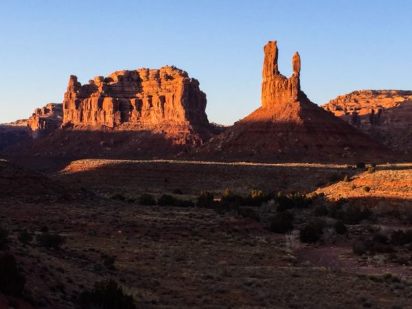 North Tower with Arrowhead Spire (right) in Valley of the Gods. Photo: JT.