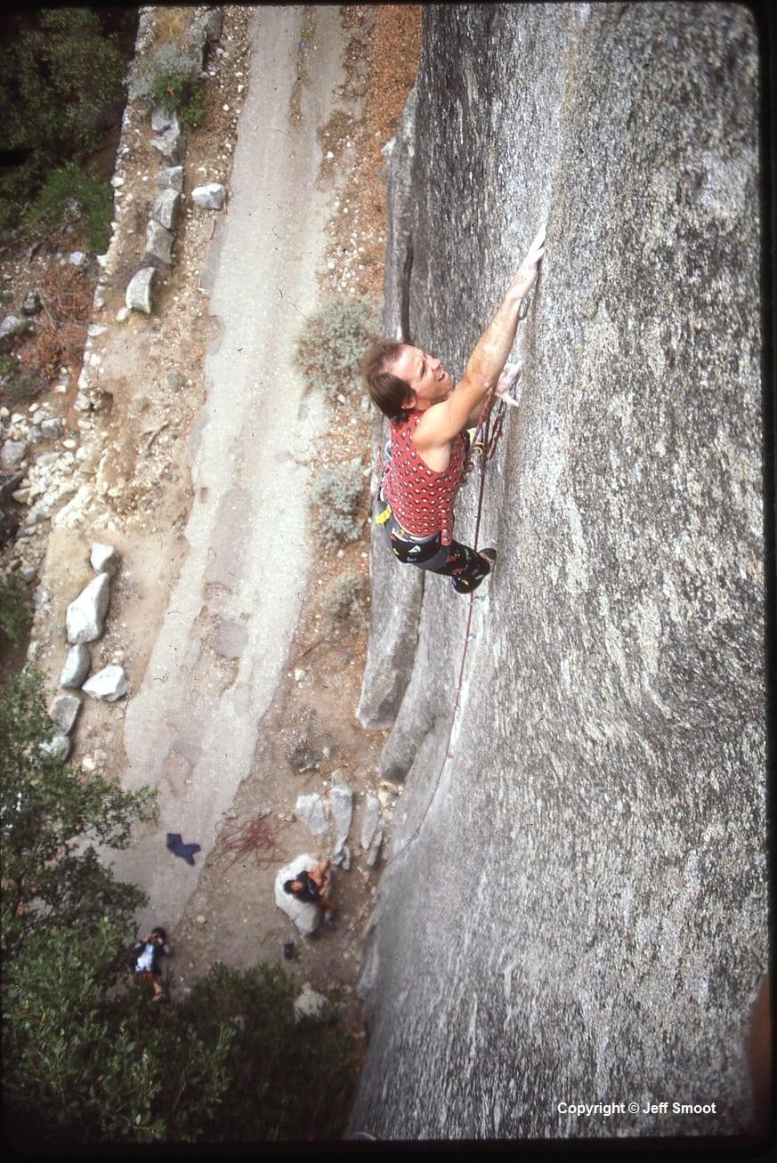 Alan Watts on the The Stigma (5.13b), Yosemite Valley 1985; Copyright Jeff Smoot